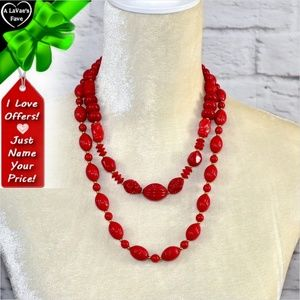 Jewelry - Red Bead Necklace Set ~0cd40s0sc26
